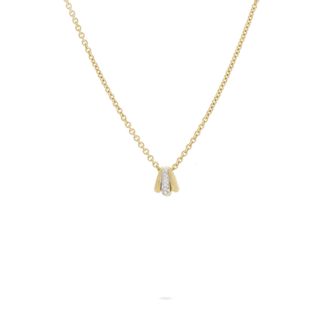 Lucia 18K Yellow Gold and Diamond Small Fan Pendant