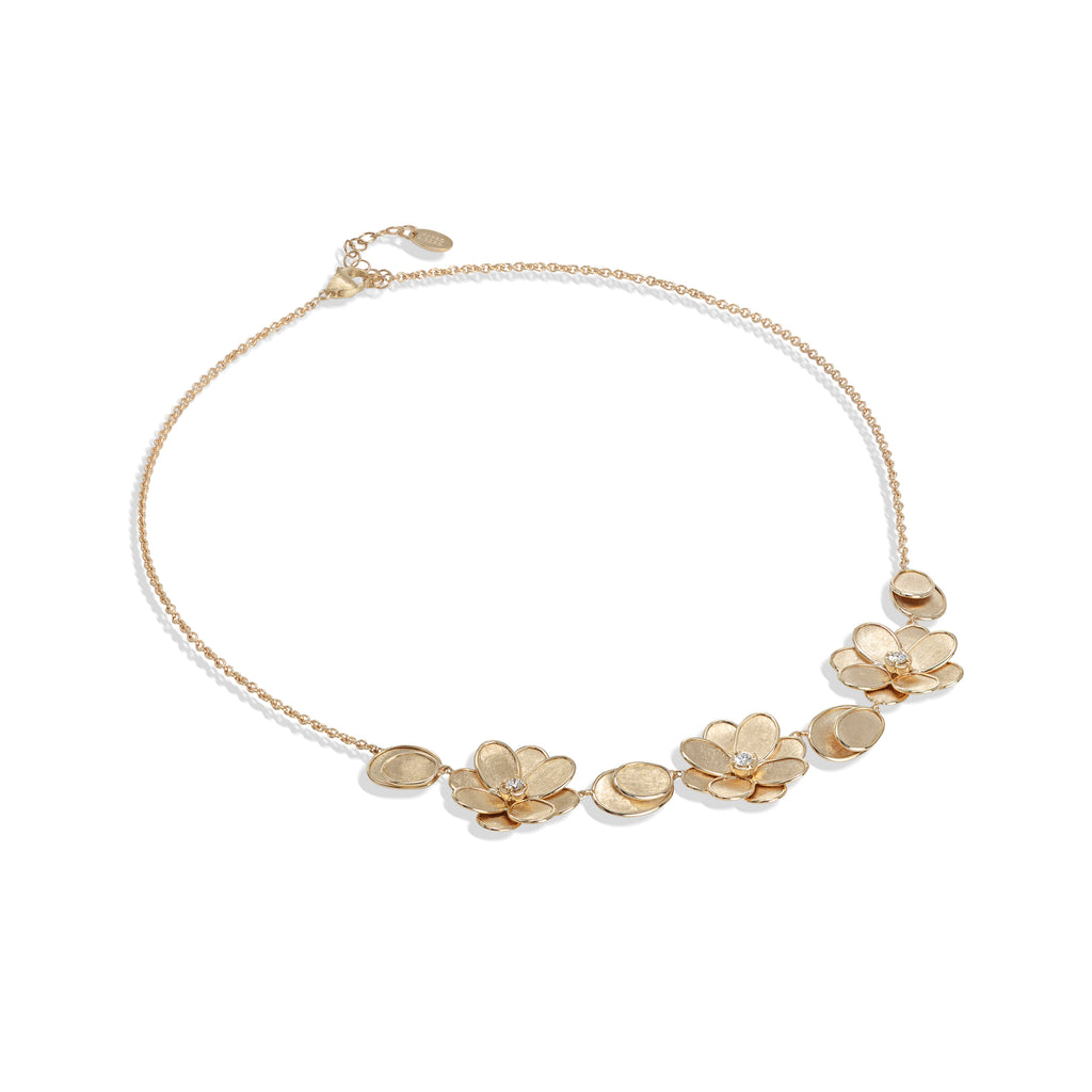 Marco Bicego® Petali Collection 18K Yellow Gold and Diamond Three Flower Necklace