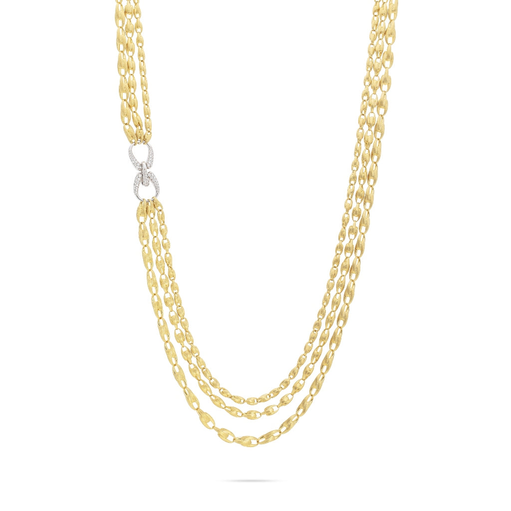Marco Bicego® Unico Collection 18K Yellow Gold and Diamond Lucia Multi Strand Necklace