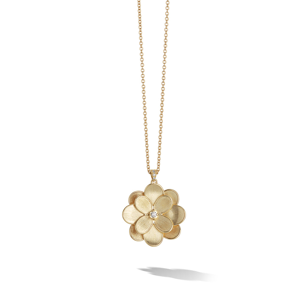 Marco Bicego® Petali Collection 18K Yellow Gold and Diamond Small Long Flower Pendant