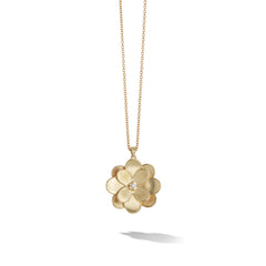 Marco Bicego® Petali Collection 18K Yellow Gold and Diamond Small Long Flower Pendant image 1