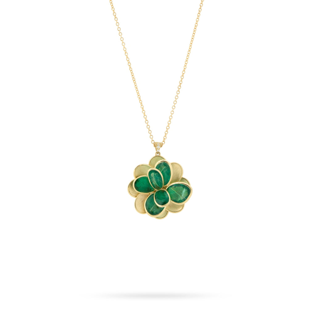 Marco Bicego® Unico Collection Petali Collection 18K Yellow Gold and Emerald Flower Necklace