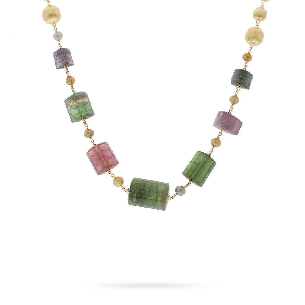 Marco Bicego® Unico Collection Africa 18K Yellow Gold Multi Color Diamond and Mixed Tourmaline Necklace