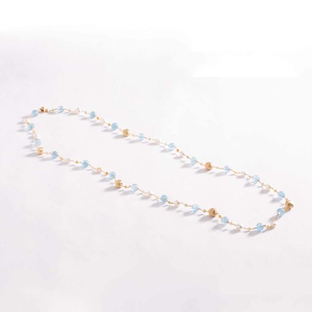 Marco Bicego® Unico Collection 18K Yellow Gold Rough Cut Diamond, Aquamarine, and Pearl Long Necklace