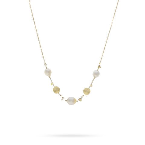 Marco Bicego® Unico Collection 18K Yellow Gold South Sea Pearls and Natural Diamond Necklace