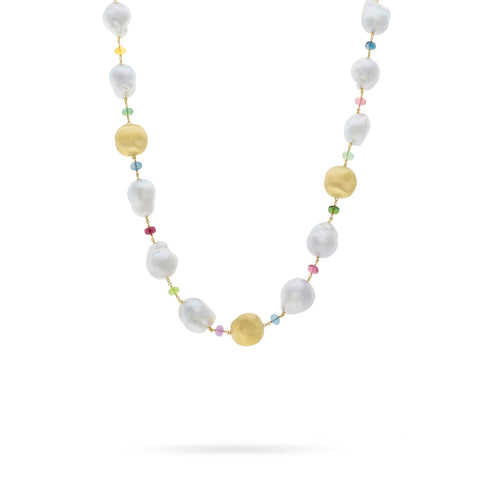 Marco Bicego® Unico Collection Africa 18K Yellow Gold Mixed Gemstone and South Sea Pearl Necklace