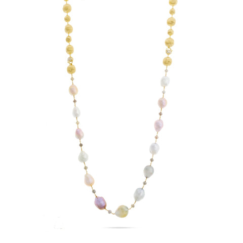 Marco Bicego® Unico Collection Africa 18K Yellow Gold Multi Color Diamond and South Sea Pearl Convertible Necklace
