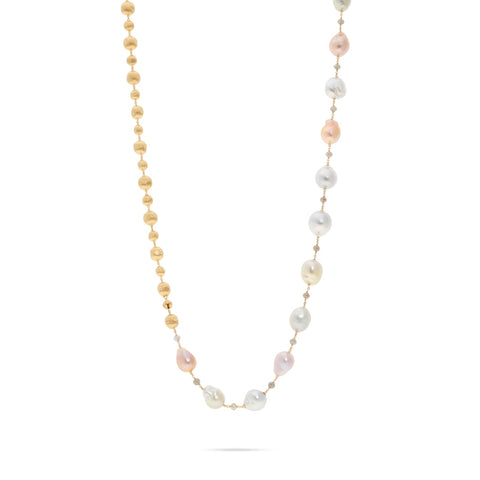 Marco Bicego® Unico Collection 18K Yellow Gold Pearl and Rough Diamond Convertible Necklace