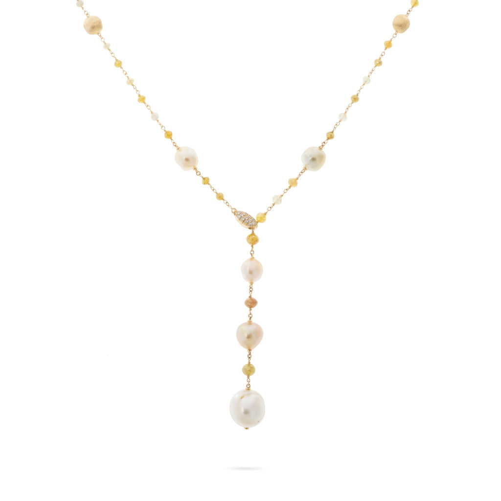 Marco Bicego® Unico Collection 18K Yellow Gold South Sea Pearl and Natural Diamond Lariat