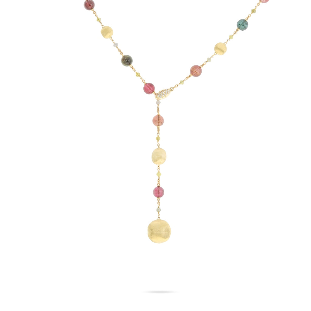Marco Bicego® Unico Collection 18K Yellow Gold Tourmaline and Diamond Lariat