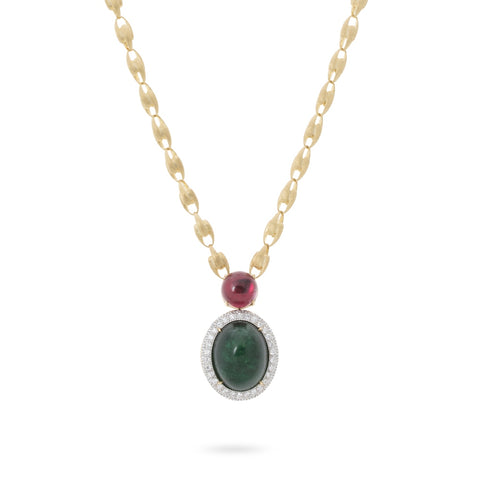 Marco Bicego® Unico Collection 18K Yellow Gold Lucia Necklace with Emerald, Pink Tourmaline and Diamonds
