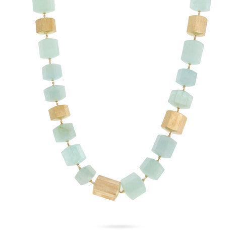 Marco Bicego® Unico Collection 18K Yellow Gold and Aquamarine Necklace