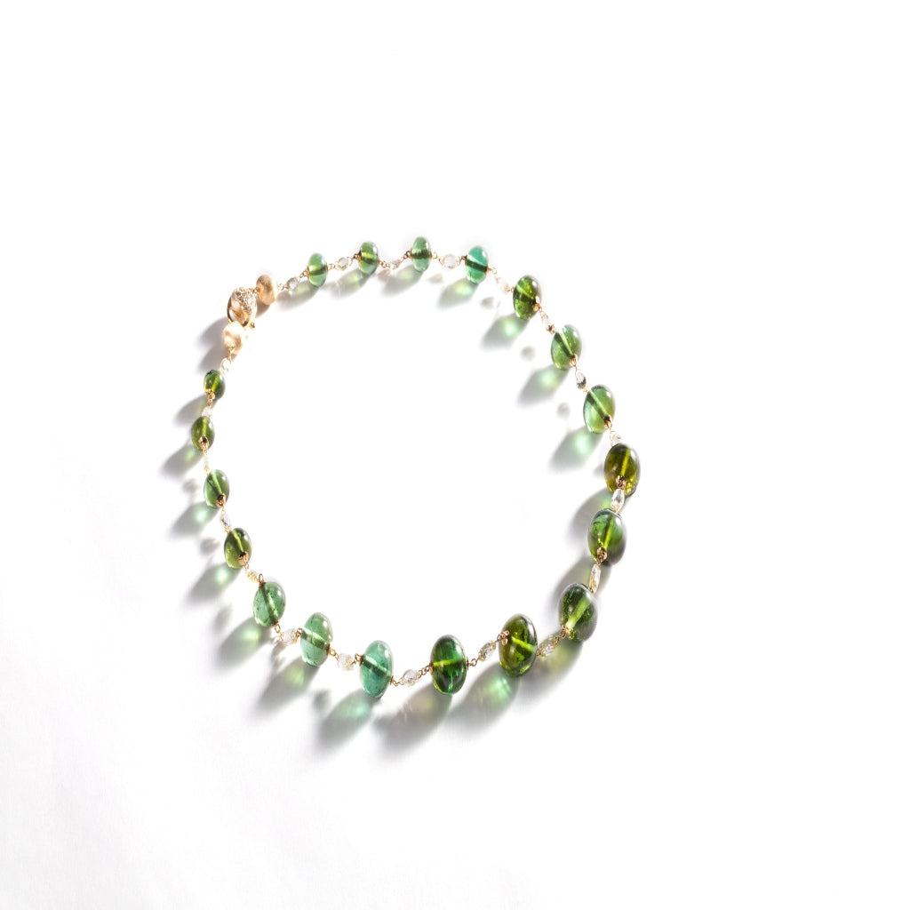 Marco Bicego® Unico Collection 18k Yellow Gold Rough Cut Diamond and Green Tourmaline Collar