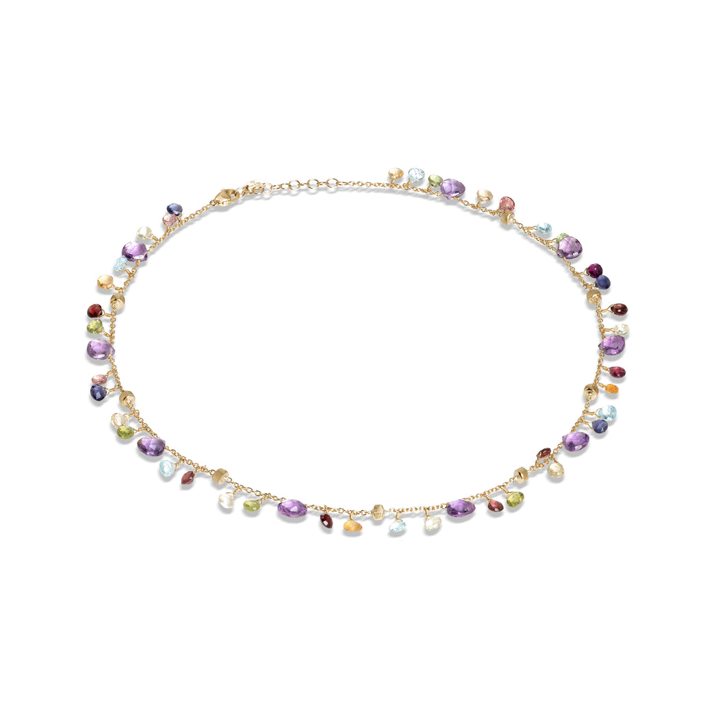Marco Bicego® Paradise Collection 18K Yellow Gold Amethyst and Mixed Gemstone Single Strand Necklace