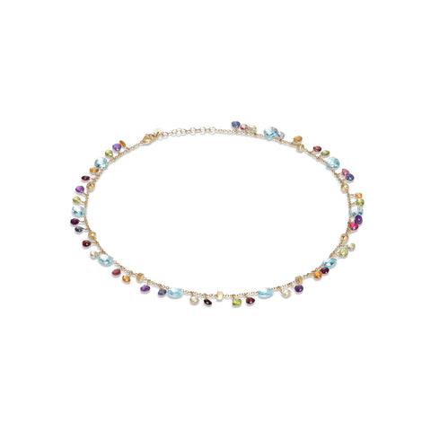 Marco Bicego® Paradise Collection 18K Yellow Gold Blue Topaz and Mixed Gemstone Single Strand Necklace
