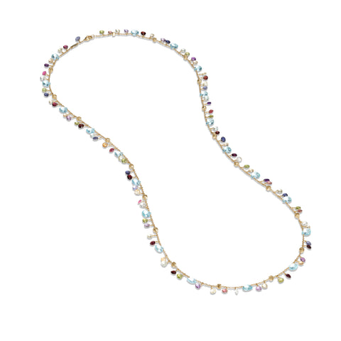 Marco Bicego® Paradise Collection 18K Yellow Gold Blue Topaz and Mixed Gemstone Long Necklace