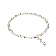 Marco Bicego® Paradise Collection 18k Yellow Gold Blue Topaz and Mixed Gemstone Lariat Necklace image 1