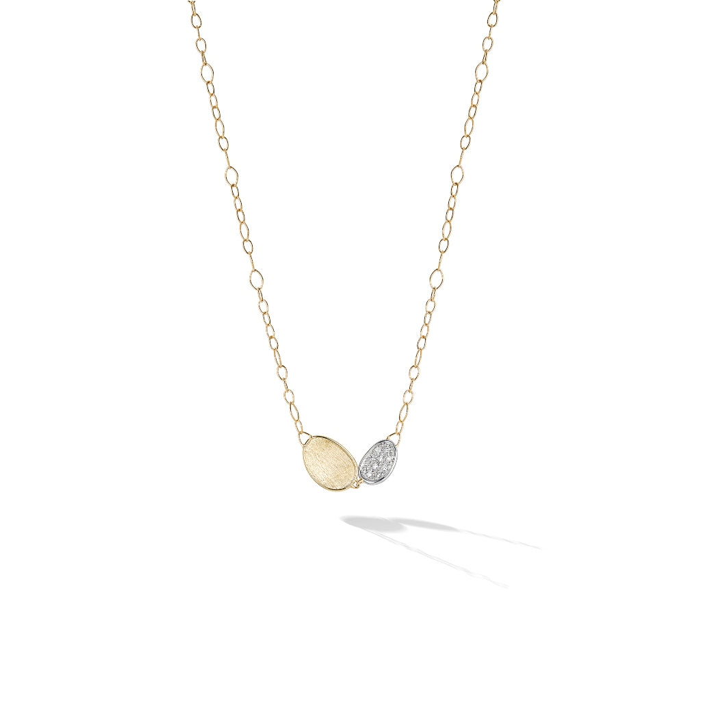 Marco Bicego® Lunaria Collection 18K Yellow Gold and Diamond Petite Double Leaf Necklace