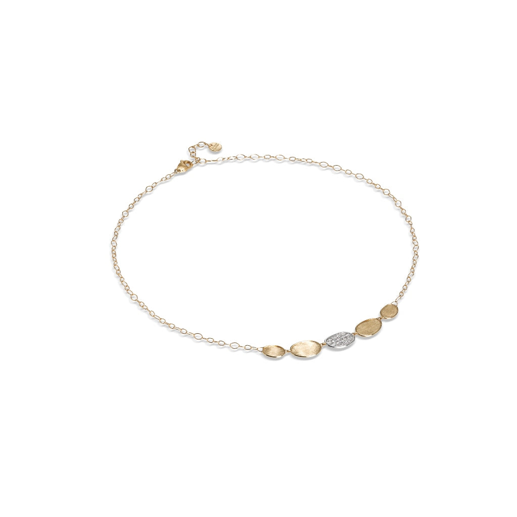 Marco Bicego® Lunaria Collection 18K Yellow Gold and Diamond Petite Half Collar Necklace