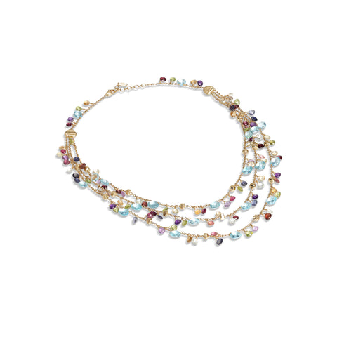 Marco Bicego® Paradise Collection 18K Yellow Gold Blue Topaz and Mixed Gemstone Triple Strand Necklace