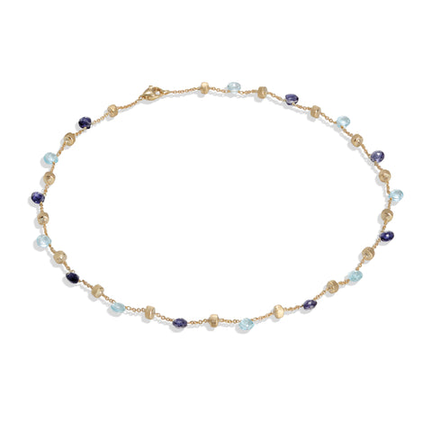 Marco Bicego® Paradise Collection 18K Yellow Gold Iolite and Blue Topaz Collar Necklace