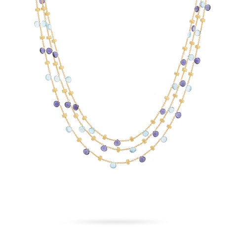 Marco Bicego® Paradise Collection 18K Yellow Gold Iolite and Blue Topaz Three Strand Collar Necklace