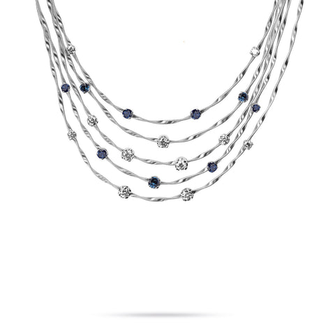 Unico Marrakech White Gold & Diamond with Blue Sapphire Necklace