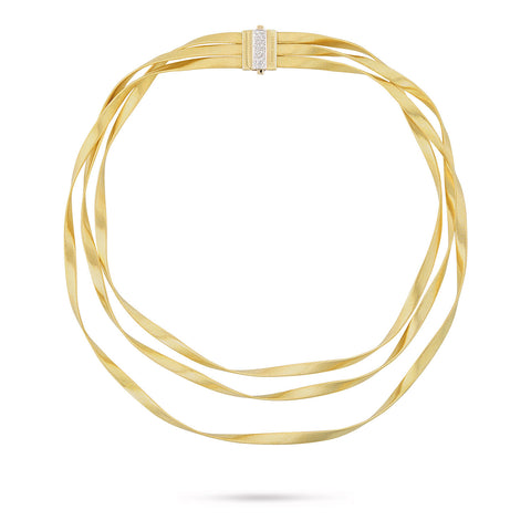 Marco Bicego® Marrakech Collection 18K Yellow Gold and Diamond Three Strand Necklace