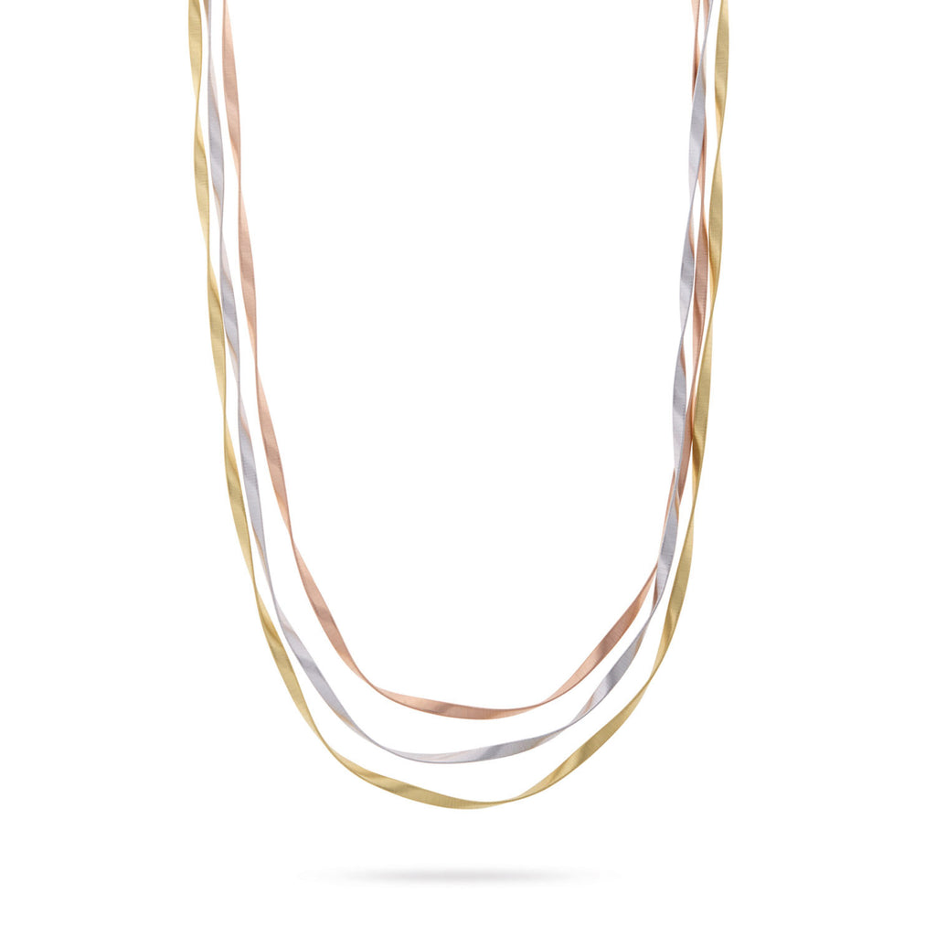 Marrakech Supreme Yellow, White, & Rose Gold Three Strand Necklace