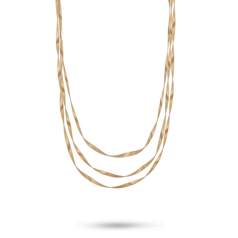 Marrakech Supreme Yellow Gold Three Strand Long Necklace