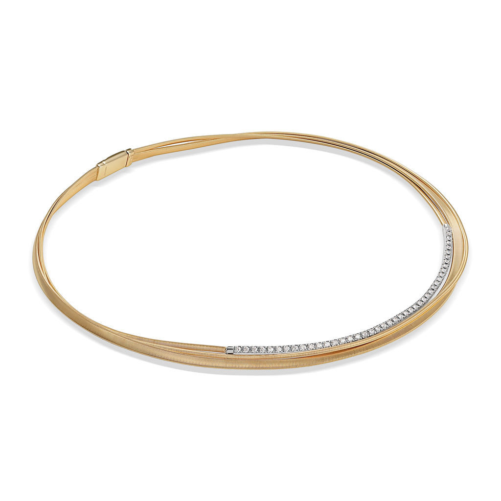 Marco Bicego® Masai Collection 18K Yellow Gold and Diamond Three Strand Crossover Collar