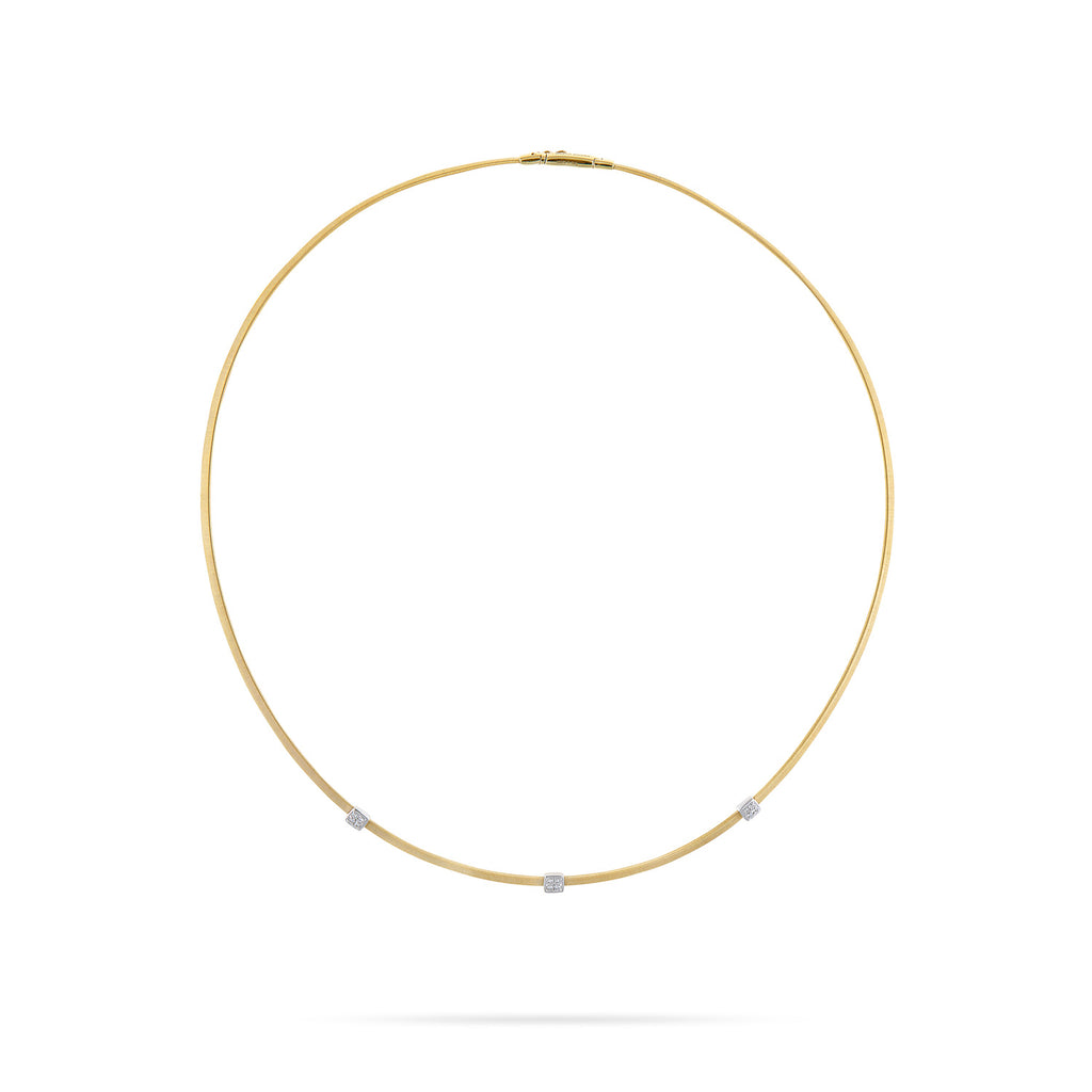 Marco Bicego® Masai Collection 18K Yellow Gold and Diamond Three Station Necklace