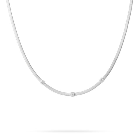 Marco Bicego® Masai Collection 18K White Gold and Diamond Three Station Necklace