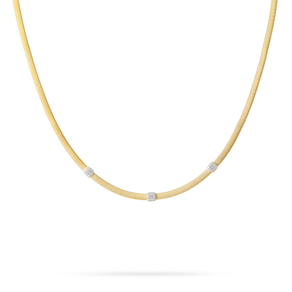 Masai Three Station Diamond Necklace in Yellow Gold