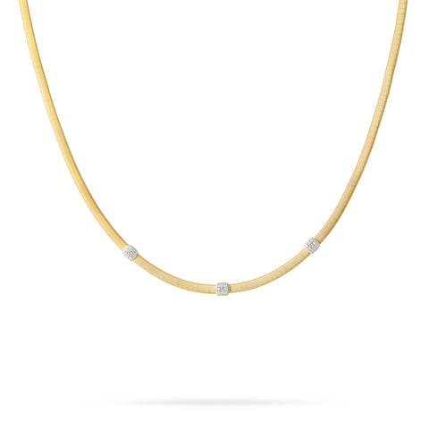 NEW - Masai Three Station Diamond Necklace in Yellow Gold