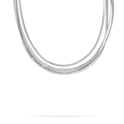Masai Three Strand Diamond Necklace in White Gold