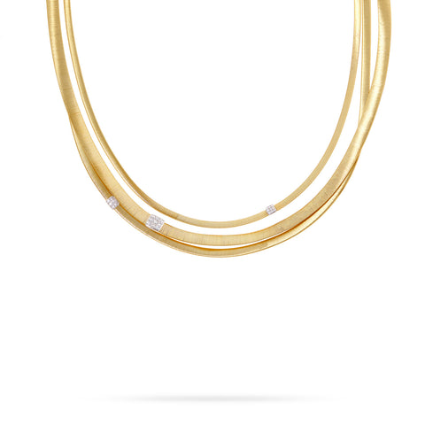 Marco Bicego® Masai Collection 18K Yellow Gold and Diamond Three Strand Necklace