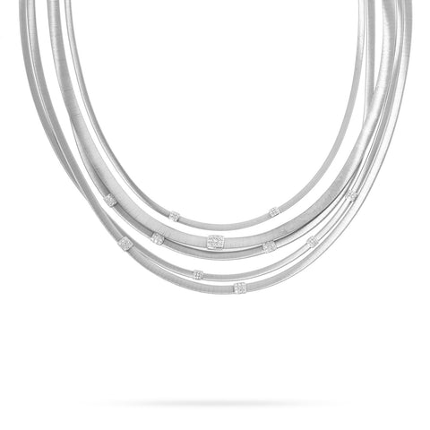 Masai Five Strand Diamond Necklace in White Gold