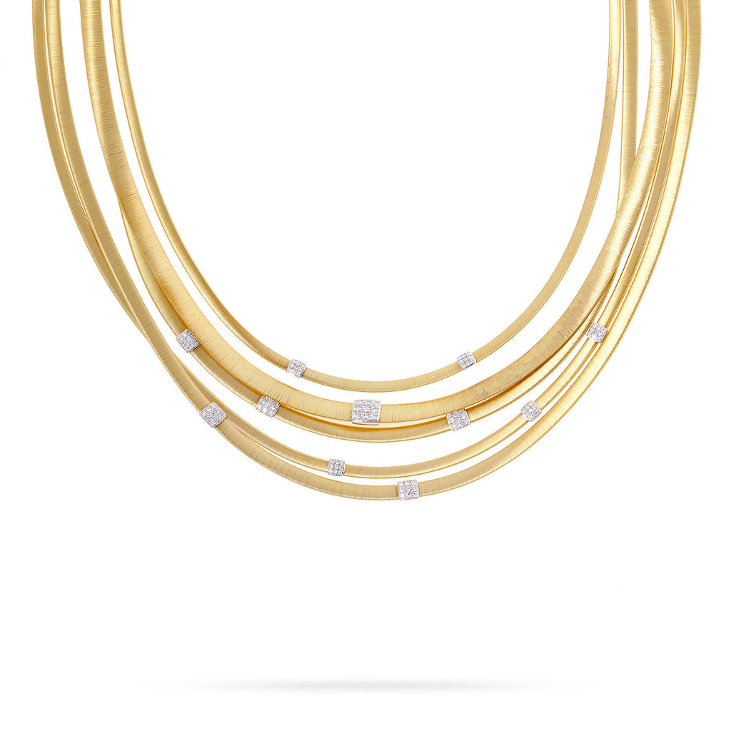 Masai Five Strand Diamond Necklace in Yellow Gold