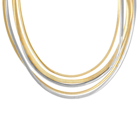 Masai Yellow and White Gold Five Strand Necklace