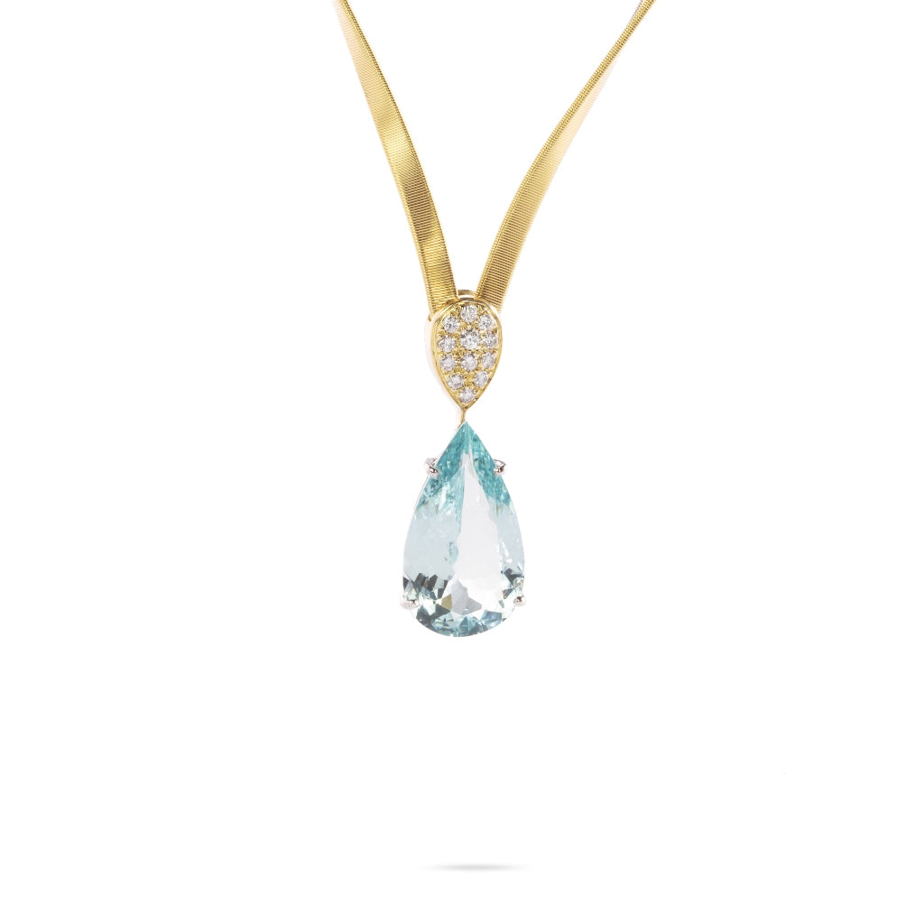 Marco Bicego® Unico Collection 18K Yellow Gold and Aquamarine Marrakech Necklace