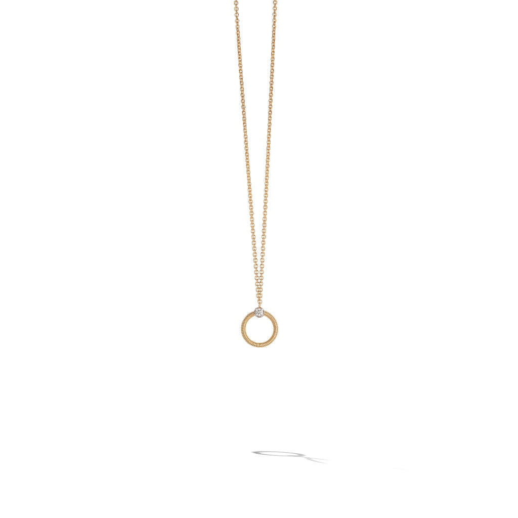 Marco Bicego® Bi49 Collection 18K Yellow Gold and Diamond Small Circle Necklace
