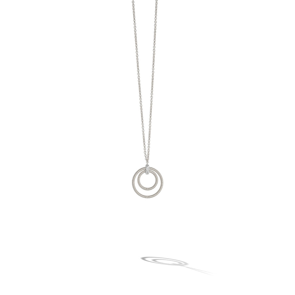 Marco Bicego® Bi49 Collection 18K White Gold and Diamond Small Double Circle Necklace