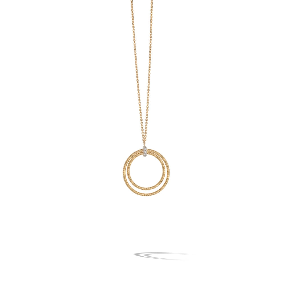 Marco Bicego® Bi49 Collection 18K Yellow Gold and Diamond Large Double Circle Necklace