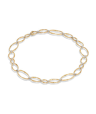 Marco Bicego® Marrakech Onde Collection 18K Yellow Gold and Diamond Flat Link Collar Necklace