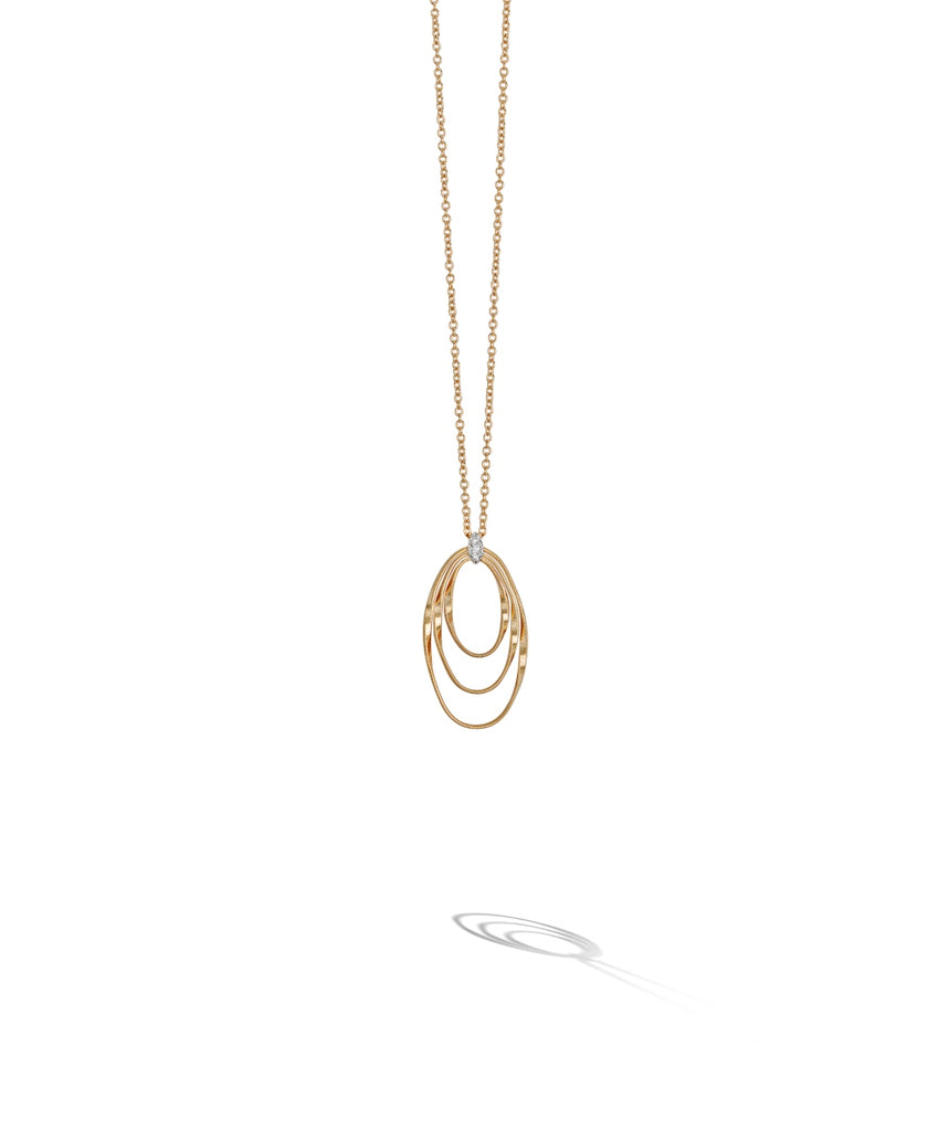 Marco Bicego® Marrakech Onde Collection 18K Yellow Gold and Diamond Concentric Small Pendant