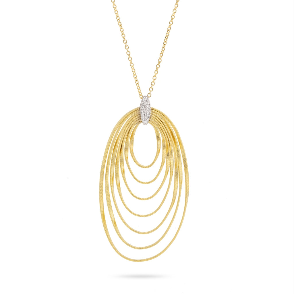 Marco Bicego® Marrakech Onde Collection 18K Yellow Gold and Diamond Long Concentric Pendant