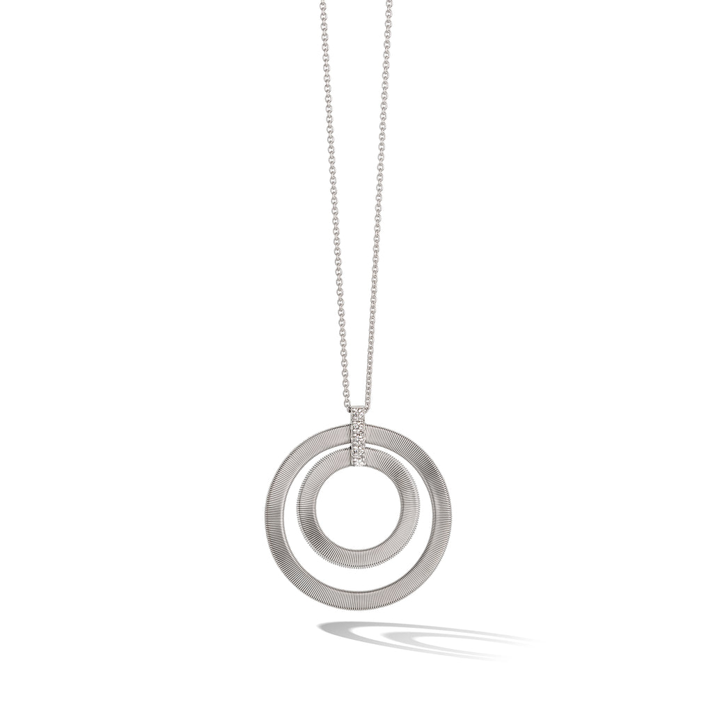 Marco Bicego® Masai Collection 18K White Gold and Diamond Double Circle Long Necklace