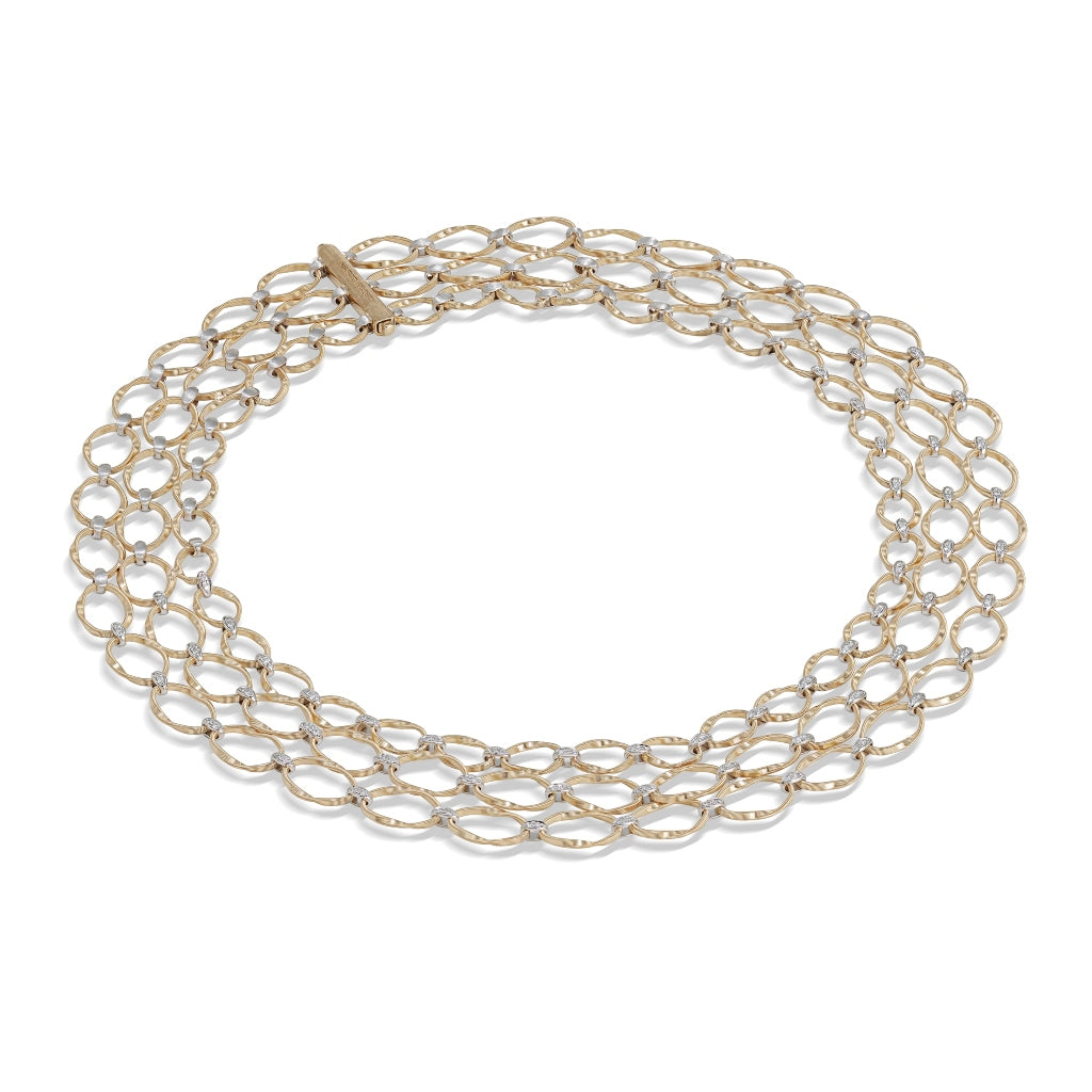 Marco Bicego® Marrakech Onde Collection 18K Yellow Gold and Diamond Flat Link Three Strand Necklace