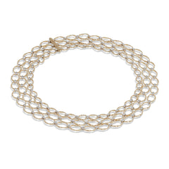 Marco Bicego® Marrakech Onde Collection 18K Yellow Gold and Diamond Flat Link Three Strand Necklace image 1